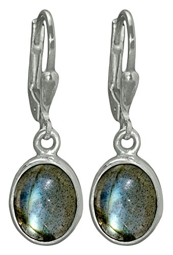 I-be,Labradorit Edelstein 8x10 mm Ohrringe oval 925 Silber, Länge 3 cm im Geschenketui, 392812 k KB - Oval Silber Ohrringe