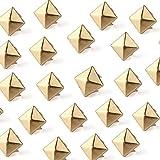 Ecloud Shop 100 Stücke 10mm Nieten DIY Pyramidennieten Ziernieten Golden für Schuhe Gürtel