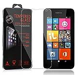Cadorabo Panzer Folie für Nokia Lumia 535 - Schutzfolie in KRISTALL KLAR – Gehärtetes (Tempered) Display-Schutzglas in 9H Härte mit 3D Touch Glas Kompatibilität