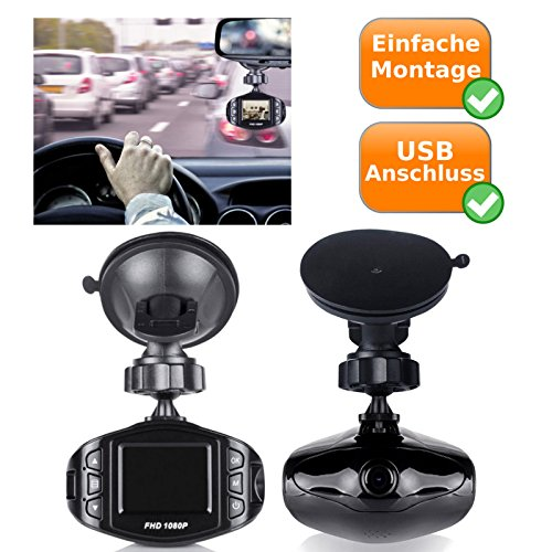 Full HD Dash Cam - KFZ Videokamera Überwachung mit 140 Grad Blickwinkel - Autokamera mit integriertem Mikrofon und Lautsprecher