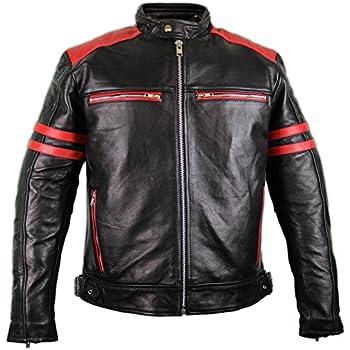 A Pro Lederjacke Herren Biker Motorrad CE Protektoren