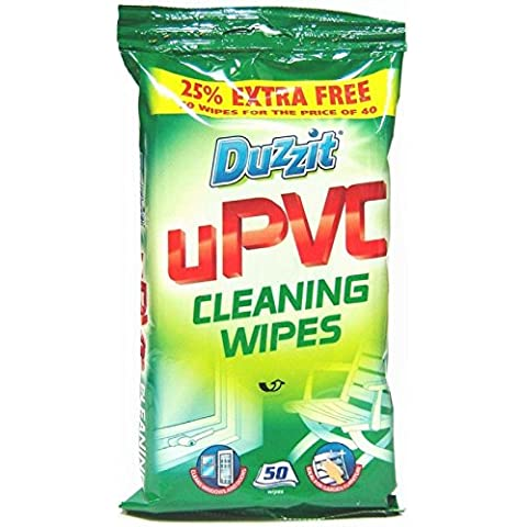 100 UPVC Cleaning Wipes ,2 PACKS of 50 by Duzzit