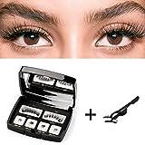 Magnetische Wimpern,HIBEAUTY 3D Magnet Künstliche Wimpern Natural Look Künstliche Falsche Wimpern mit 2 Magneten,Widerverwendbare Magnetic False Eyelashes+Edestal Wimpern Applikator Pinzette