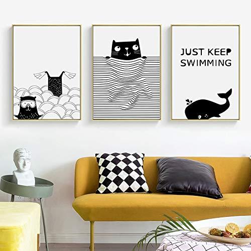 XWArtpic Gatto Bianco e Nero Volpe Balena Animale vivaio Stampe murali Dipinti su Tela Arte nordica Poster Foto Arredamento Camera dei Bambini 50 * 70 cm