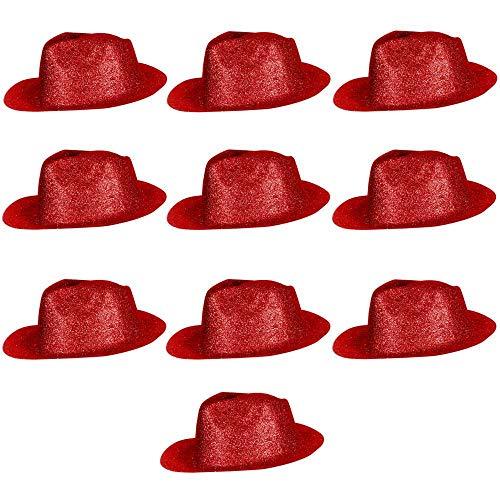 10er Set Coole Cowboy Hüte Sheriff Fasching Masken Perücke Disco Zylinder Maske Texas Glitzer Einfach - Rot