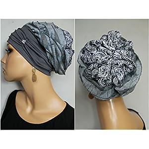 Beanie Mütze Ballonmütze Rüschen Batik Rosen mit Band little things in life Chemo Cap Hat Chemomütze Mütze bei Krebs Kopfbedeckung Turban