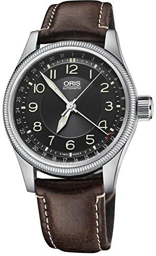 Oris Big Crown puntero Fecha Negro Dial piel de color marrón reloj para hombre 754–7679–4034ls