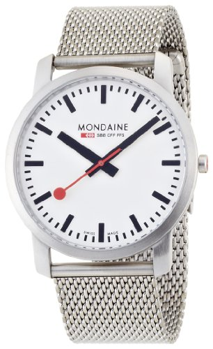 Mondaine Men's Watch A672.30350.16SBM with White Round Dial and a Stainless Steel Bracelet