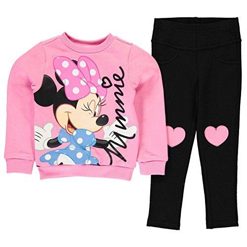 Character Ragazze Jegging Set 2 Pezzi Bambine Felpa Pantaloni Elasticizzati Top Disney Minnie 4-5 Yrs