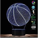 Bebé 3D Baloncesto Ilusión óptica Iluminación Arte LED Lámpara de luz Escultura Luces nocturnas Balón deportivo 3D Lámpara visual Regalo para atleta mejor regalo