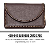 #9: nisun Leather pocket sized business / credit /name card holder case wallet with Magnetic Shut for gift – Coffee