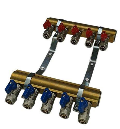 Heizverteiler 2-12 fach Messing Verteiler mit integrierten Ventilen