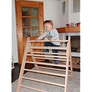 großes Kletterdreieck Art Pikler, Kindersicherung, fertig zusammengebaut aus unbehandeltem Holz / Buche, auf Wunsch mit…