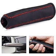 beler negro cuero freno de mano rojo cubierta de costura funda protectora apta para Honda Civic