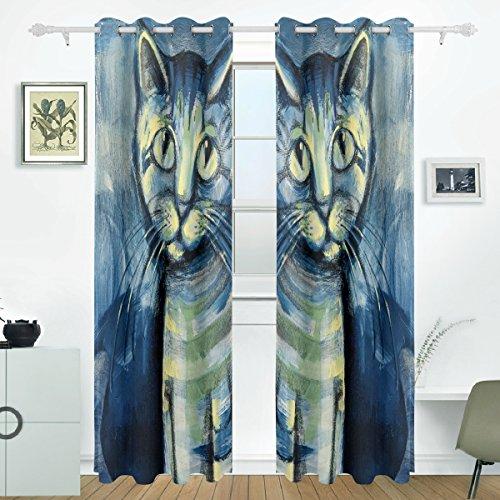 JSTEL Painting Blue Kätzchen Vorhänge Panels Verdunklung Blackout Tülle Raumteiler für Terrasse Fenster Glas-Schiebetür Tür 139,7x 213,4cm, Set von 2 (Volant Kätzchen)