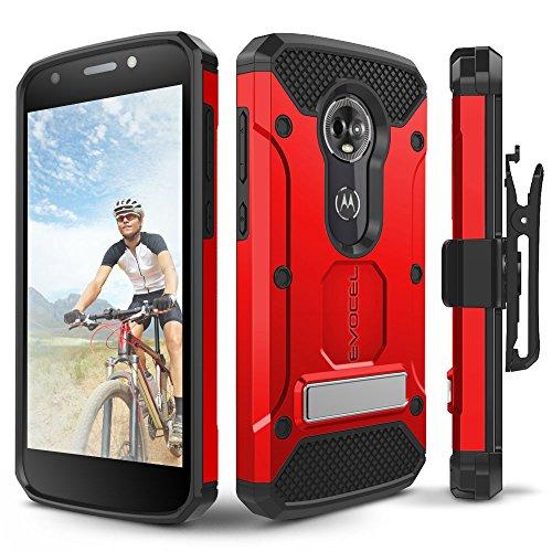 Motorola Moto E5Plus Fall, evocel [Explorer Pro-Serie] mit Glas Displayschutzfolie und Metallständer für Motorola Moto E5Plus, Rot - T-mobile Telefono