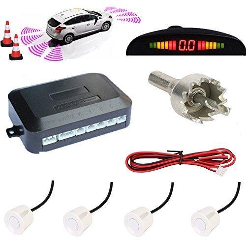 TKOOFN KFZ Summer Einparkhilfe Rückfahrhilfe 4 hinten Sensoren Hinter mit LED Farb Display Auto Parken Sensor System Pieper Radar Kit Weiß