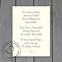 "Winnie The Pooh Quote PRINT -""If Ever There Is A Tomorrow When We're Not Together. You Are Braver."" Available in 2 Sizes. DISNEY Quote Gift."
