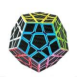 HJXDtech - Unregelmäßiger Zauberwürfel mit Carbonfaser Aufkleber Twist Profi Puzzle Würfel Spielzeug für Erwachsene und Kinder (Megaminx)