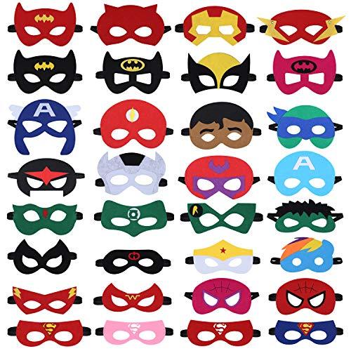 Tenva 32 Piezas Máscaras de Superhéroe,Máscaras de Cosplay de Superhéroe,Juguete de Regalo,Cosplay Party Máscaras de Ojos,Niños Cosplay Fiesta Masquerade para Niños Mayores de 3 Años
