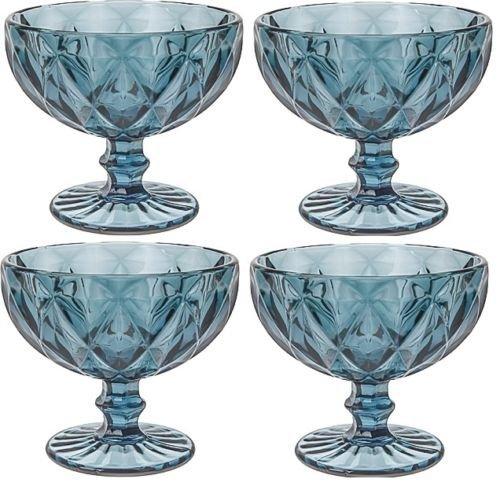 Set von 4Glas blau Gerichte Eis Dessert Fruit Salat (Blue Footed Bowl)