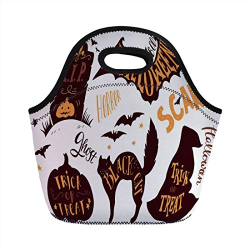 Jieaiuoo Portable Lunch Bag,Vintage Halloween,Halloween Symbols Trick or Treat Bat Tombstone Ghost Candy Scary Decorative,Dark Brown Orange,for Kids Adult Thermal Insulated Tote Bags