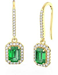 Princess Emerald and Diamond Pave Silver Earrings (EMERALD CUT YELLOW GOLD)