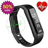 WitMoving Fitness Tracker, Sport Water Resistant Smart Bracelet Wristband Watch with Heart Rate Monitor Pedometer Touchscreen for iPhone Samsung IOS Android Smartphones (Black)