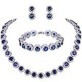 TENYE Damen rund Cut Cubic Zirconia Tennis Halskette Armband Ohrringe Set blau Silber-Ton