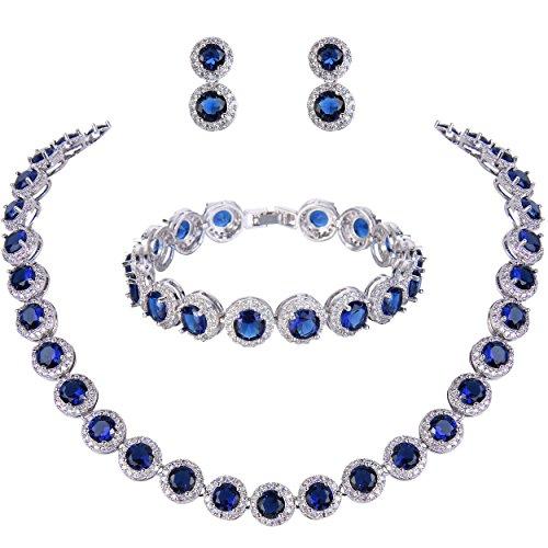 Ever Faith Damen Rund Cut Cubic Zirconia Tennis Halskette Armband Ohrringe Set blau Silber-Ton