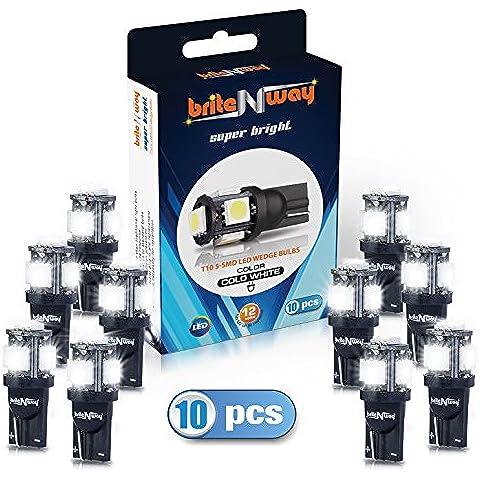 T10 5 -SMD blanco frío LED luces del coche Bombilla - Wedge Tipo - W5W 194 168 5050 - 12V - el paquete de 10 - Directo de Replacment y retroceso - Auto - RV - para Interior - Señal , Cúpula, Tronco , Cuadro de instrumentos , luz de