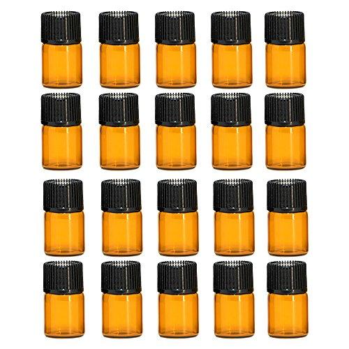 Vococal-20Pcs Mini Portable Voyage 2ML Marron Vide Bouteilles en Verre Rechargeables Bouteilles d'huile Essentielles Conteneurs avec Casquettes Noires-C