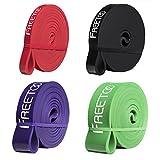 FREETOO Resistance Band Fitnessbänder professionelle Latex Widerstand Bänder Pull-Up Bänder Klimmzughilfe für Bodybuilding/Yoga/Krafttraining/Crossfit in 4 Stärken(Rot+Schwarz+Violett+Grün)