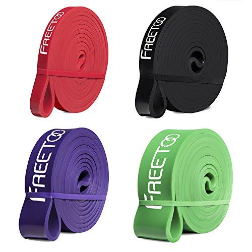 FREETOO Fitness Resistenza Band Fasce Elastiche, Perfette per Riabilitazione Dopo un Infortunio, Yoga, Pilates, Crossfit (Rosso+Nero+Viola+Verde)