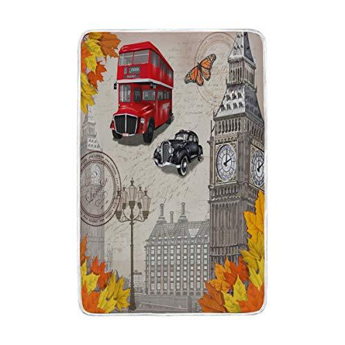 funnyy British UK London Big Ben - Manta para sofá o Cama,...