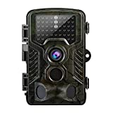 Elepawl Cámara de Caza, Infrarrojos Trail Cámara 12MP 1080P HD Impermeable IP56 con Infrarrojos PIR Sensor de Movimiento con Lapso de Tiempo 65ft de 120 °Gran Angular 46 LEDs Visión Nocturna de Caza para Hogar Vigilancia & Caza