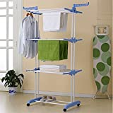 Flipzon 2 Poll Heavy Multi Layer Stainless Steel Premium Cloth Drying Stand - 2 Poll - 3 Layer - 6 Hangers with Wheels - Blue & White