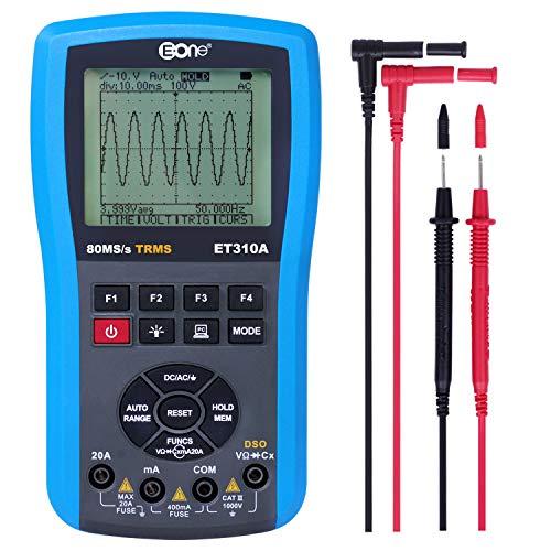 EONE Handheld Osciloscopio Multímetro Mesa de ohmios digital Frequency meter 4 en 1 almacenamiento USB Osciloscopio multímetro analógico a de captura de forma de onda Pantalla grande de color LED