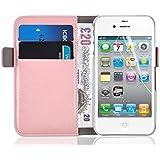 iPhone 4 Hülle, JAMMYLIZARD Luxuriöse Flip Cover Ledertasche mit Kartenfach für iPhone 4 & 4s, PFIRSICHROSA