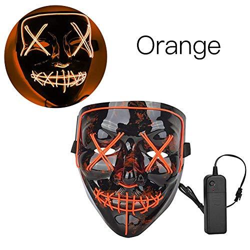 jinclonder Halloween LED leuchten Maske, Purge Maske Glühdraht leuchten Grinsen Festival Parteien Maske für Halloween Cosplay Kostüm Maskerade Parteien Karneval Ostern und - Beängstigend Purge Kostüm