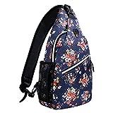 MOSISO Brusttasche Sling Rucksack Schultertasche, Polyester Crossbody Umhängetasche für Männer Frauen Mädchen Jungen, Navy Blau Basis Floral