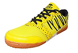Port Mens Spider Black Yellow Pu Badminton Shoes (Size 5 UK/IND)