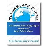 "TerraSlate Paper 4 millimetri impermeabile laser / copiare 8,5 ""x 11"" 50 fogli 24 libbre Bianco Stampante"