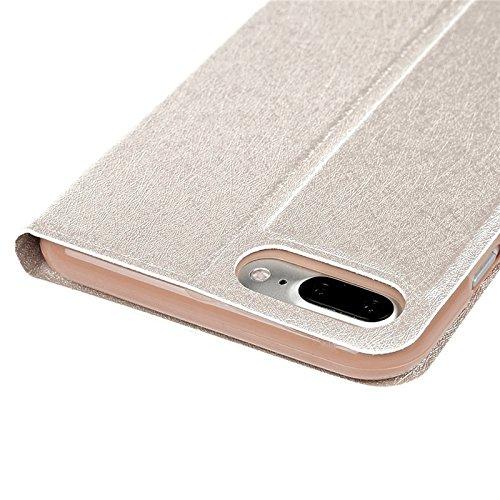 iPhone 7 Hülle, Yokata PU Lederhülle Flip Case mit Campanula und Feder Motif Kartenfach Brieftasche Magnet Cover + 1*Stylus Pen - Weiß Gold