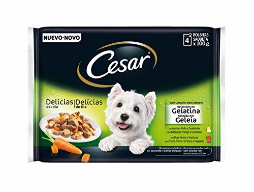 César Selección Bolsitas para Perros en Gelatina - Pack de 4 x 100 gr - Total: 400 gr