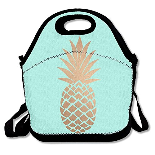 Preisvergleich Produktbild Gold Pineapple Mint Green Lunch Bag Insulated Tote Handbag Lunchbox Food Container Gourmet Tote Cooler Warm Pouch With Shoulder Strap For Women Teens Girls Kids Adults