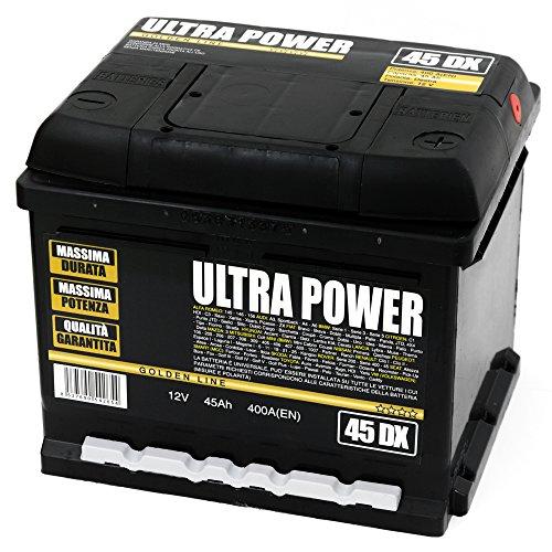 ULTRA POWER Batteria per auto 45Ah DX 400A pronta all'uso lunga durata e potenza