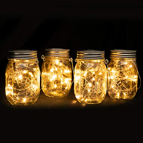 Beslands Solar Mason Jar Light Led Jar Solar Glas 20 LED 4 Pack Lampen Weihnachten Dekorative Beleuchtung für Glas Mason Jar Hängen Laterne Licht Garten Patio (Mason Jar Included)