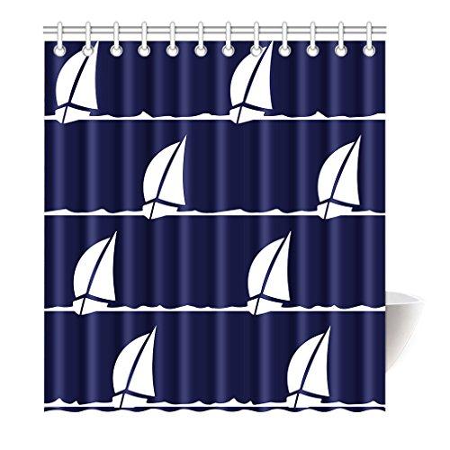 Preisvergleich Produktbild Violetpos Duschvorhang Segelboot Blau Weiß Hochwertige Qualität Shower Curtain 160 x 180 cm