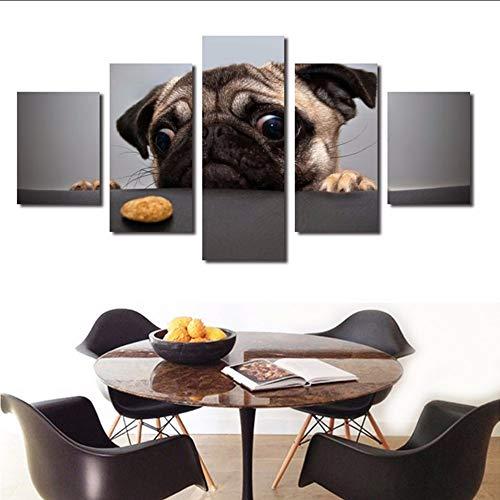 xzfddn Leinwand HD Drucke Poster Wandkunst 5 Stücke Niedlichen Hund Gesicht Gemälde Tier Mops Bilder Für Wohnzimmer Dekoration